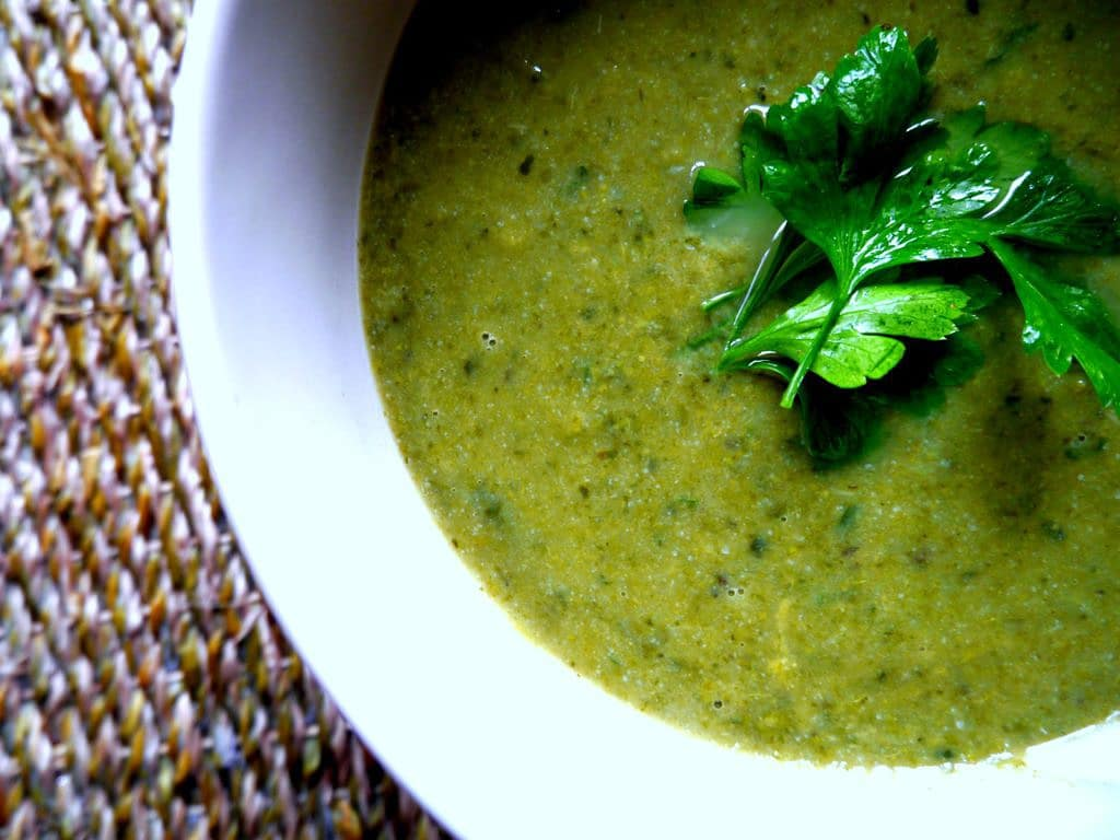 Pure Green Soup - a warming, nourishing bowl of green vegetable goodness. Gluten free and dairy free, and vegan friendly too! Recipe via nourisheveryday.com