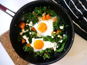 Pumpkin, Kale and Feta Eggs - a simple healthy one pan meal! Recipe via Nourish Everyday