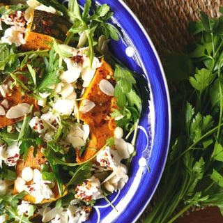 Roast Pumpkin and Goats Cheese Salad with Rocket and Chilli Flakes - Nourish Everyday