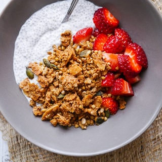 Healthy Cinnamon and Ginger Granola - gluten free and dairy free! Recipe by Nourish Everyday