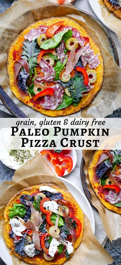 Paleo Pumpkin Pizza Crust (grain free, dairy free, gluten free, vegan option) - recipe by Nourish Everyday
