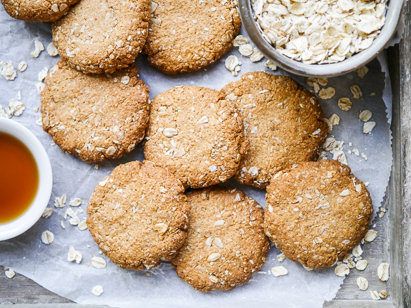 This easy buckwheat ANZAC biscuits recipe is wheat free, dairy free and nut free. A simple vegan biscuit with that classic combo of oats and coconut!