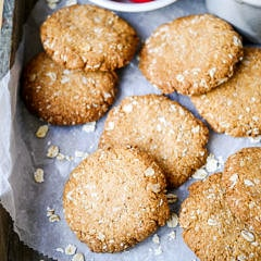 This easy buckwheat ANZAC cookies recipe is gluten free, dairy free and nut free. A simple vegan cookie with that classic combo of oats and coconut! Recipe by Nourish Everyday
