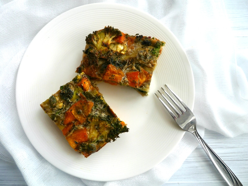 Sweet Potato and Broccoli Frittata |Nourish Everyday | Easy, healthy and tasty, this dish is packed with protein and a rainbow of healthy veggies!