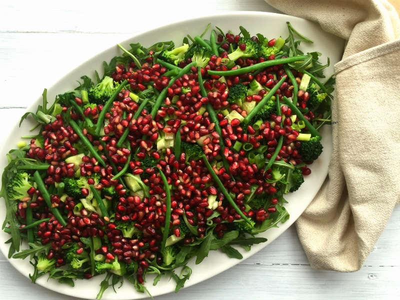 My Guest Post for Your Zen Life: Eating Well - via nourisheveryday.com - Image: Pomegranate, Green Bean and Broccoli Salad