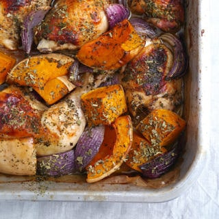 Tray baked roast chicken with pumpkin, sage and red onion is easy to prepare, healthy and delicious! A family friendly dinner; gluten free and dairy free. Recipe via wordpress-6440-15949-223058.cloudwaysapps.com