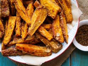 Healthy Cumin Seed and Coconut Sweet Potato Wedges by Nourish Everyday