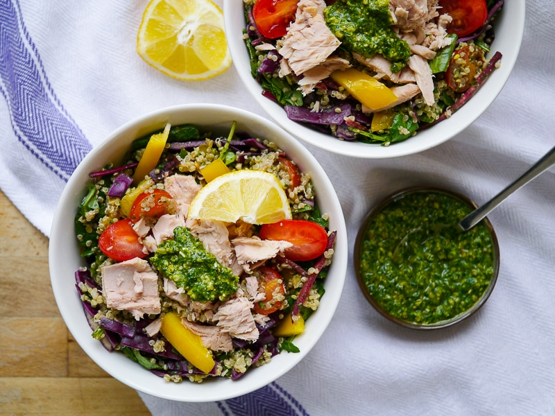Tuna with Pesto Quinoa Salad by Nourish Everyday - a healthy, gluten free and nourishing, protein packed salad!