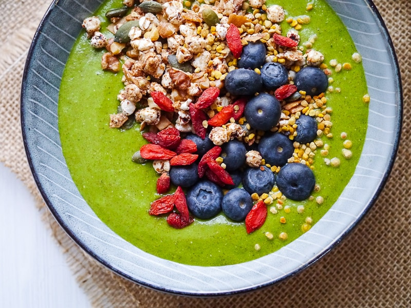 A low sugar green vegetable smoothie bowl made without fruit and packed with protein. It's surprisingly sweet and delicious! Dairy free, vegan, paleo