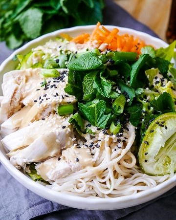 Tamari and Lime Poached Chicken Noodle Salad by Nourish Everyday
