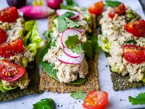 Salmon Avocado and Tahini Open Sandwiches