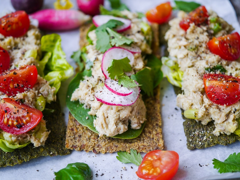 Salmon, Avocado and Tahini Open Sandwiches | wordpress-6440-15949-223058.cloudwaysapps.com | a healthy, easy and economical sandwich filling using canned salmon paired with fresh avocado and creamy tahini for healthy fats. Delicious, dairy free and sugar free!