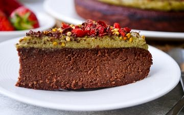 Superfood Paleo Chocolate Cake with Matcha Frosting | wordpress-6440-15949-223058.cloudwaysapps.com | this luscious grain free cake is free from gluten, dairy and refined sugar, and yet it's SO incredibly delicious, with a rich, truly chocolatey flavour!