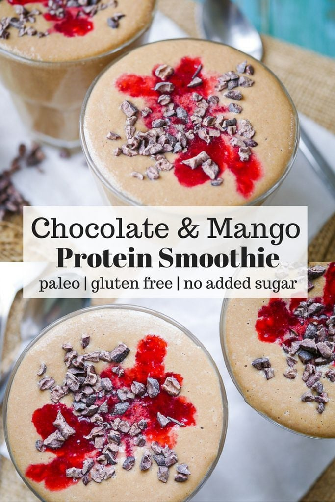This paleo chocolate mango protein smoothie recipe is nourishing, healthy and delicious. The perfect quick breakfast or snack. Refined sugar free!