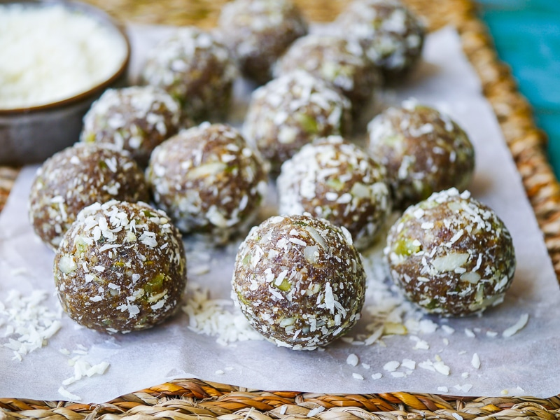 Apricot Cashew and Pumpkin Seed Bliss Balls by Nourish Everyday | Tasty, chewy and nutritious bliss balls made with natural dried apricots, cashews and crunchy pumpkin seeds. Gluten free, dairy free, no added sugar!