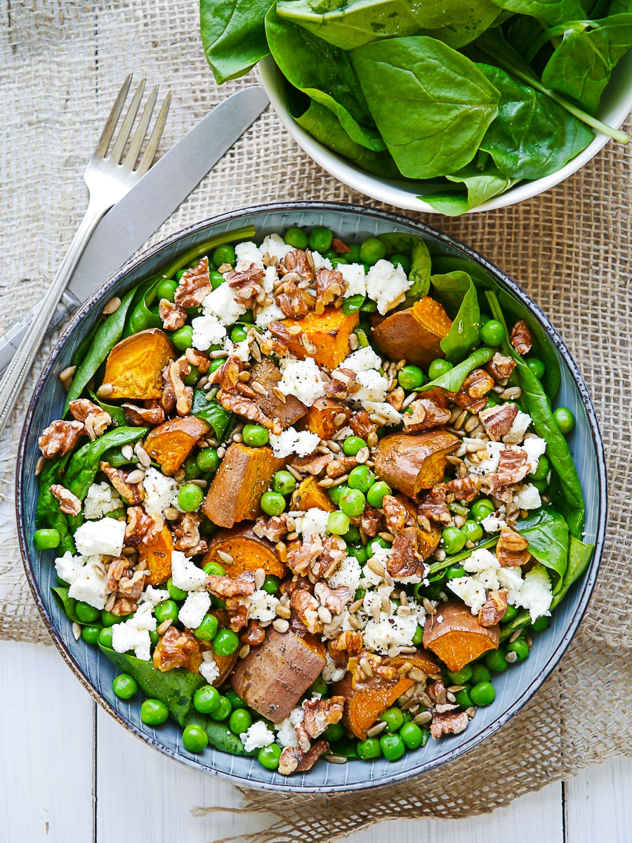 Sweet Potato, Pea and Feta Salad is a filling, healthy gluten free and grain free sweet potato salad recipe high in vegetarian protein. Easy and delicious this works as a main dish or a side!