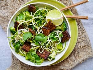 Nourishing Noodles Book Review - Broccoli Soba Noodles with Ginger Lime Tempeh - image by Nourish Everyday (Monique Cormack)