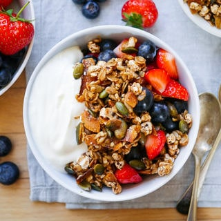 Healthy Gluten Free Puffed Buckwheat Toasted Muesli by Nourish Everyday - easy to make, dairy free and refined sugar free!
