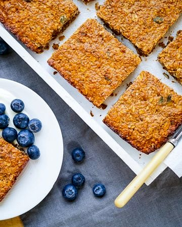 Oat, Apple and Walnut Protein Flapjacks on wordpress-6440-15949-223058.cloudwaysapps.com - the perfect healthy snack, gluten free and refined sugar free, with a simple vegan option too!