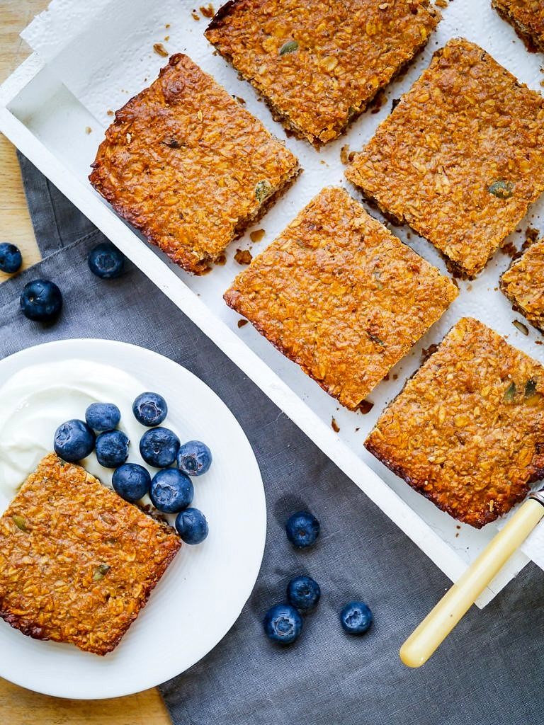 Oat, Apple & Walnut Protein Flapjacks - the perfect healthy snack, gluten free and refined sugar free, with a simple vegan option too!