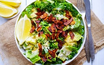Vegan Kale Caesar Salad with Coconut Bacon - wordpress-6440-15949-223058.cloudwaysapps.com - this easy recipe is gluten free, full of flavour and mega healthy!