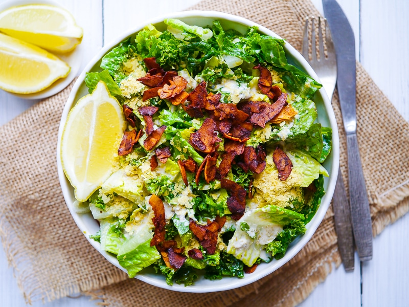 Vegan Kale Caesar Salad with Coconut Bacon | Nourish Every Day