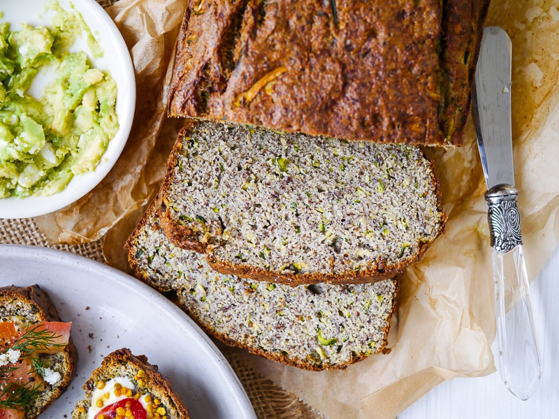 Grain free zucchini bread; made with coconut flour and flaxseed, this is a paleo friendly, gluten free, dairy free, high protein recipe. It's also nut free!
