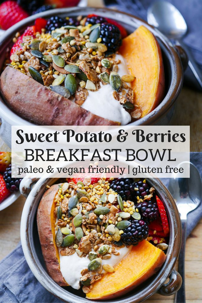 Sweet Potato and Berries Breakfast Bowl {gluten free, dairy free option, paleo friendly, vegetarian} - a healthy breakfast recipe by Nourish Everyday