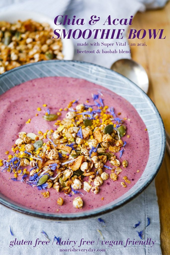 This dairy free chia acai smoothie bowl is a low sugar blend of fruit and vegetables, together with vanilla protein and nut butter for a balanced breakfast!