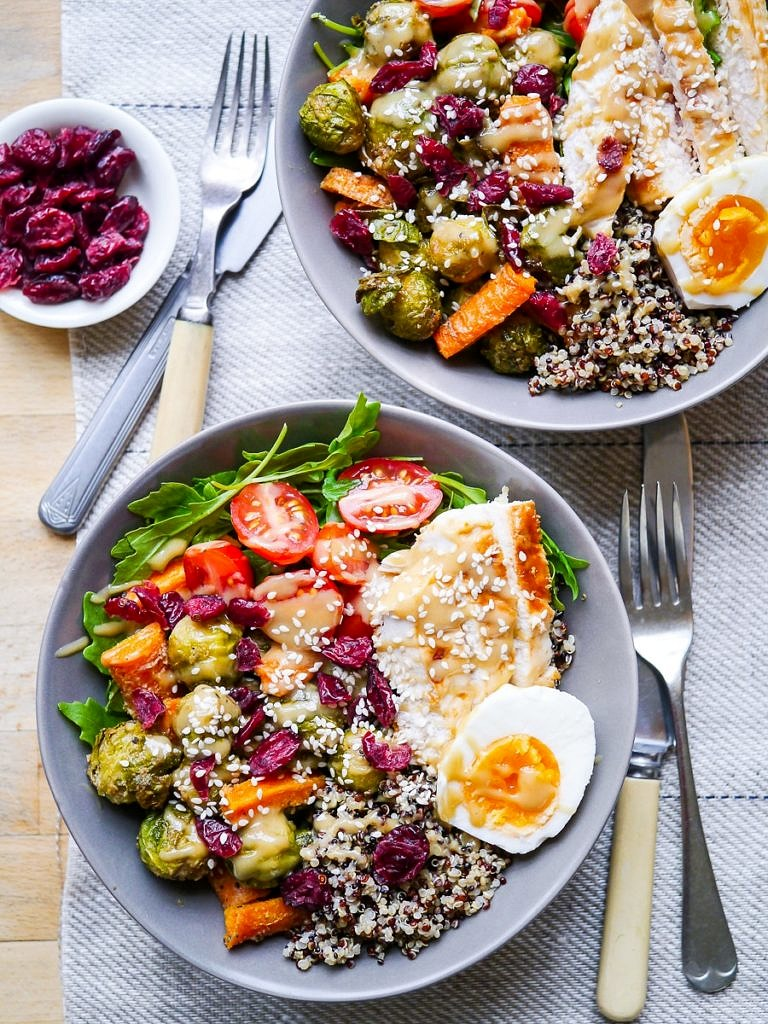 Maple tahini #brusselssprouts quinoa bowls are tasty, satisfying and full of healthy vegetable goodness. You can vary the contents of these bowls to keep them vegan or vegetarian, the base recipe is purely plant-based and flexible. #grainbowls #bowlfood
