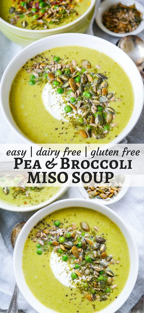 Pea and Broccoli Miso Soup is nourishing, comforting and a breeze to make; just the kind of recipe we're all keen for in January! Gluten-free, dairy-free and sugar-free, it's purely healthy but also purely delicious. A healthy, vegan-friendly, green hug in a bowl.