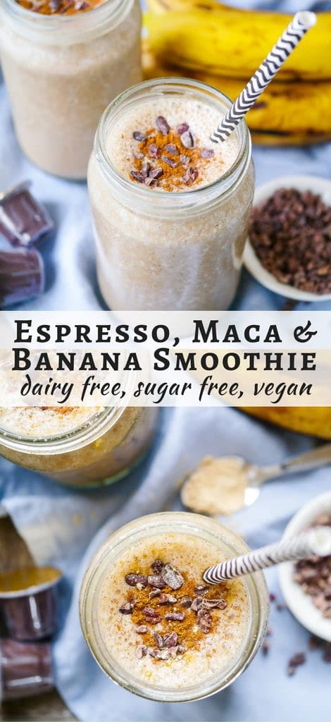 Energise with this Espresso and Maca Banana Smoothie! Gluten free, dairy free and vegan friendly, a great healthy snack or breakfast.