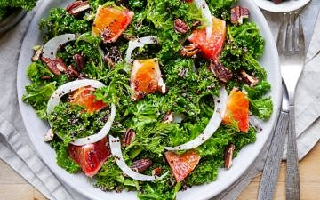 A vibrant, healthy massaged kale and blood orange salad. Finished with crunchy pecans! Gluten free, dairy free and vegan friendly. Recipe via wordpress-6440-15949-223058.cloudwaysapps.com