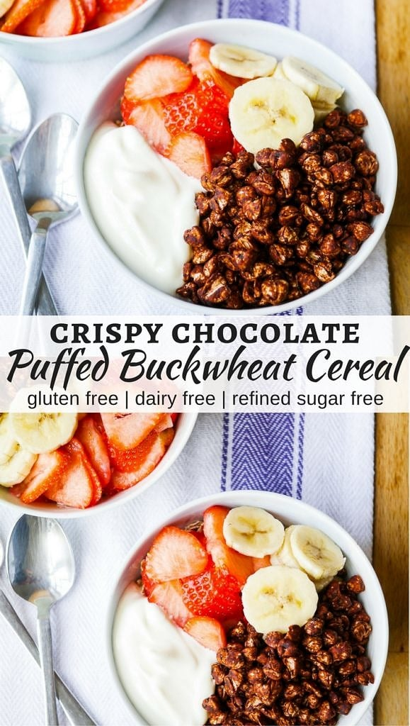 Crispy Chocolate Puffed Buckwheat Cereal - easy healthy Coco Pops! Naturally sweetened and nothing artificial. Gluten free, dairy free, and a vegan option. Recipe via nourisheveryday.com