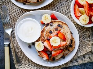 Vegan Chocolate Chip Banana Pancakes