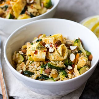 Miso Fried Rice with Egg and Greens is a healthy balanced meal that's super easy and super satisfying. Gluten free, dairy free but full of flavour! A great weeknight dinner.