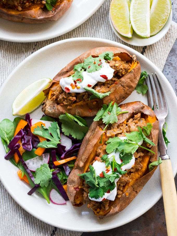 Thai Red Curry Stuffed Sweet Potatoes {gluten free, grain free, dairy free, paleo, nut free} - recipe by Nourish Everyday