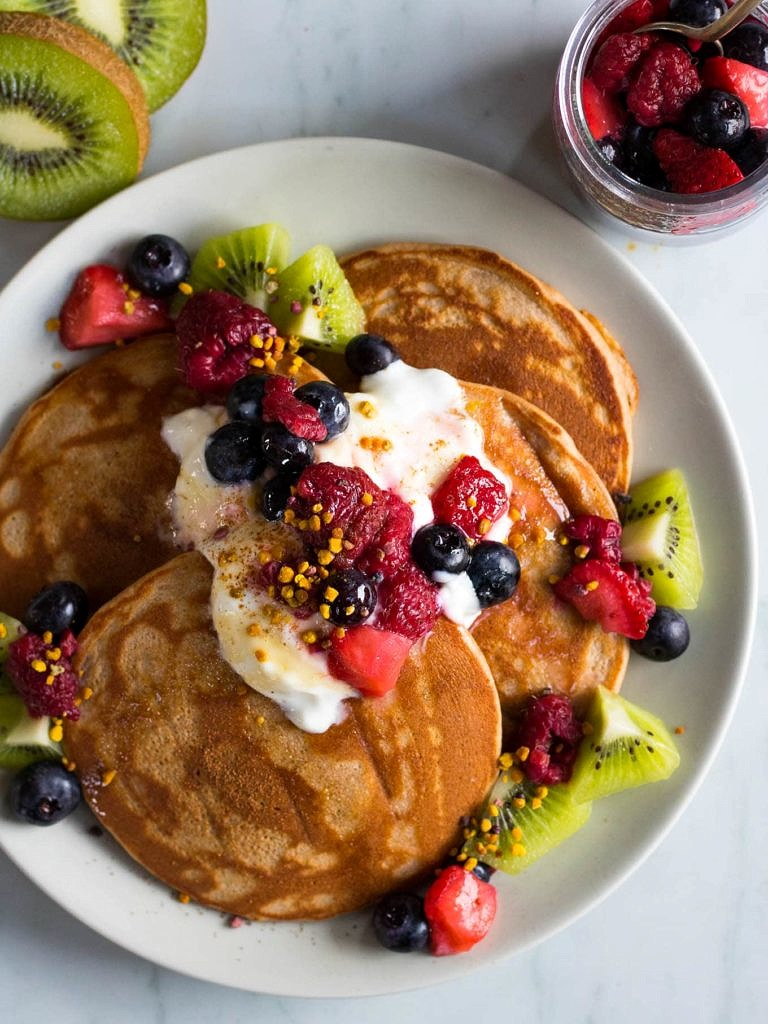 Vanilla Buckwheat Protein Pancakes are a delicious healthy breakfast to start the day. These easy pancakes are made with protein-rich buckwheat flour and protein powder to make you one satisfying breakfast! Gluten free and dairy free.