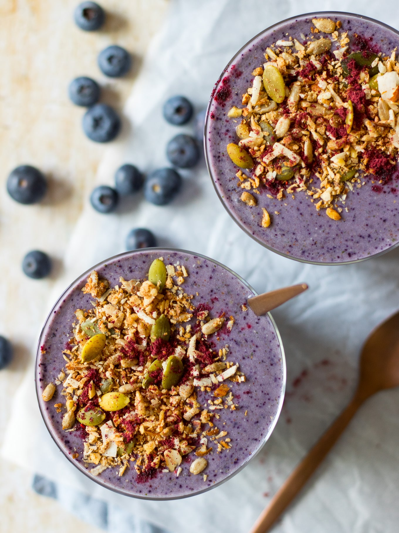 Easy Blueberry Zucchini Protein Smoothie made with frozen zucchini for a super thick creamy smoothie! Healthy, simple and delicious. Gluten free, paleo and with a vegan option.