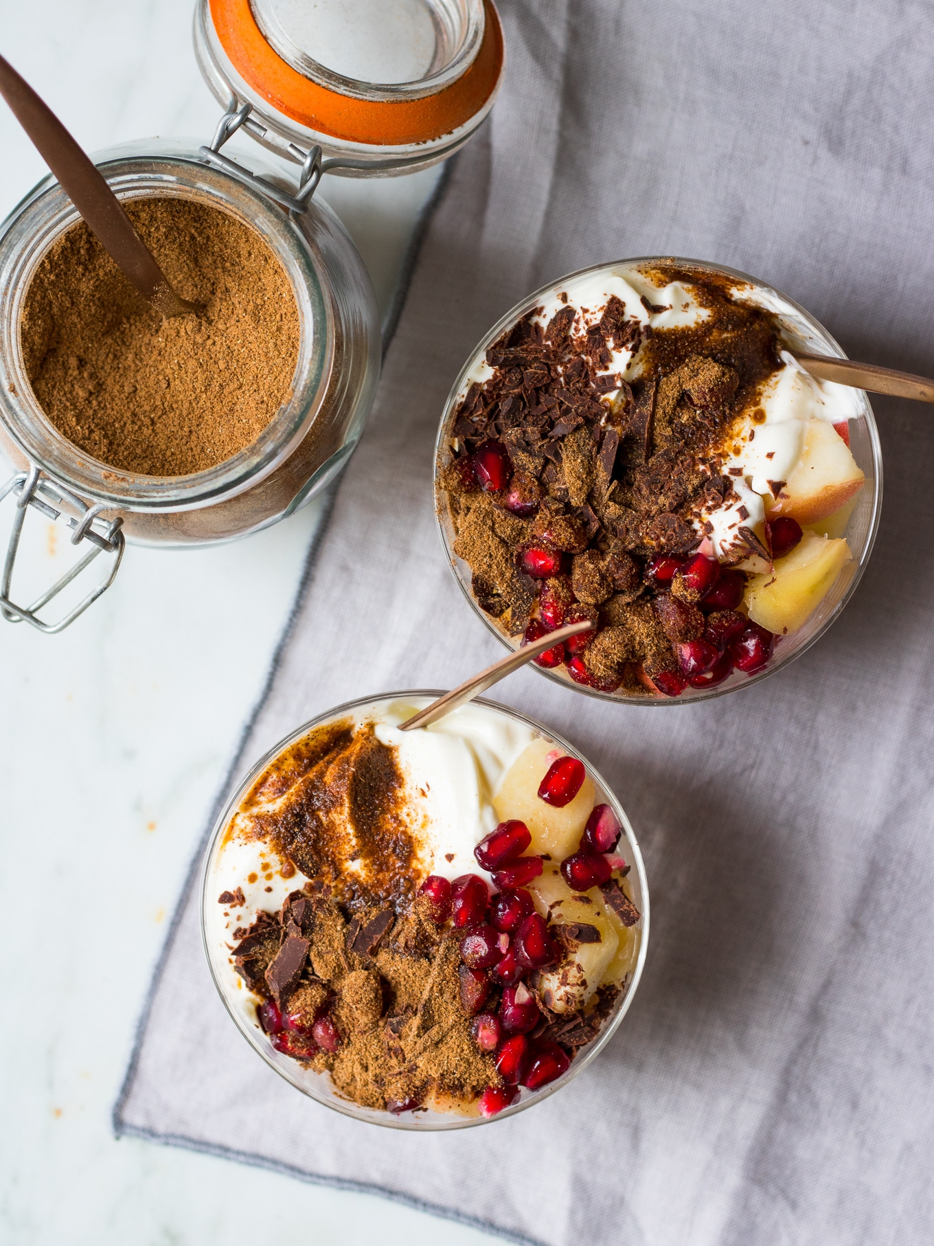 Chai Yoghurt Dessert Pots made with DIY chai latte mix! Juicy fruit, creamy yoghurt (dairy or coconut), grated chocolate and chai spices. A super easy healthy dessert that feels decadent! #healthydessert #glutenfree #dessertpots