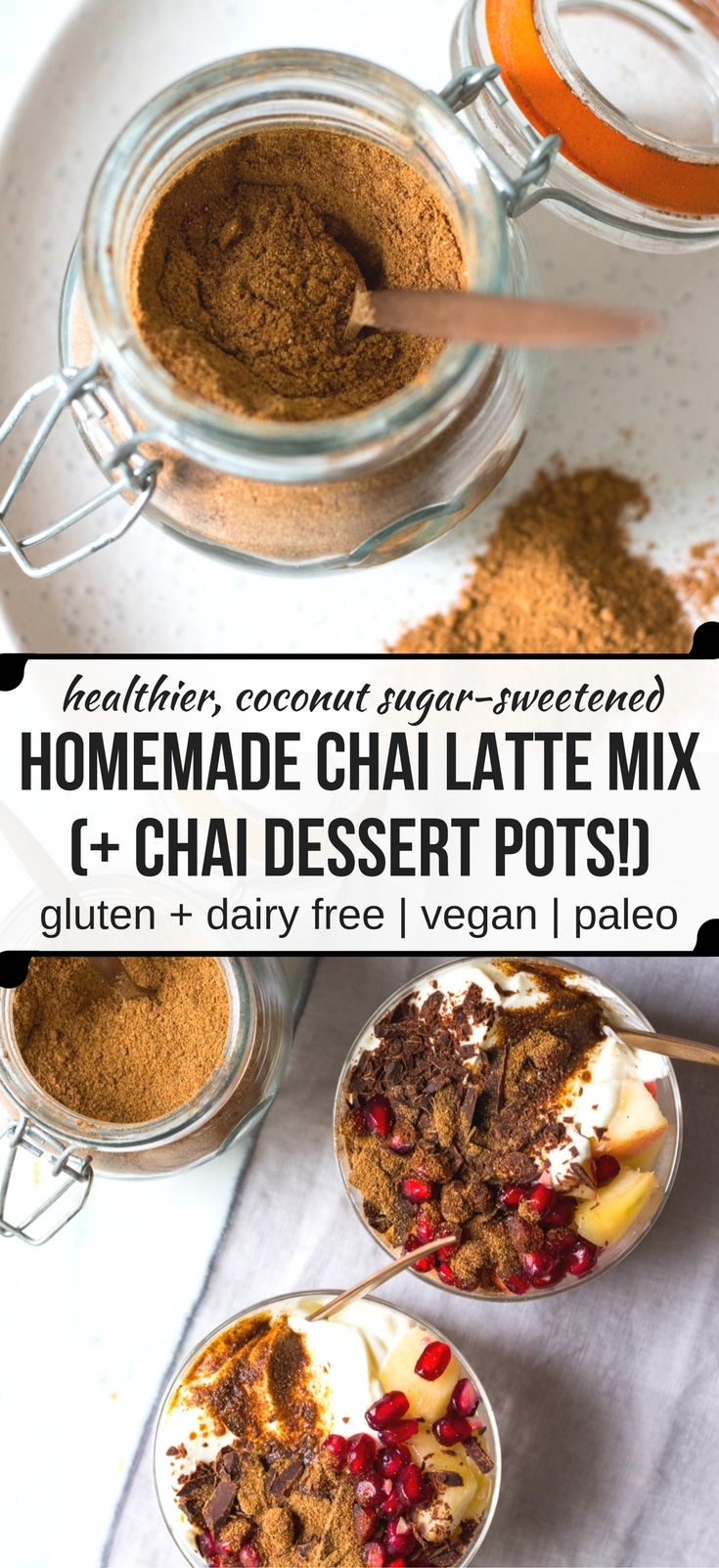 DIY Chai Latte Mix to create a healthier, natural cafe style chai latte at home. Sweetened with coconut sugar, you can adjust the amount of sweetness. Use for a hot drink or for flavouring pancakes and desserts! #chai #chailatte #chaispicemix #healthy