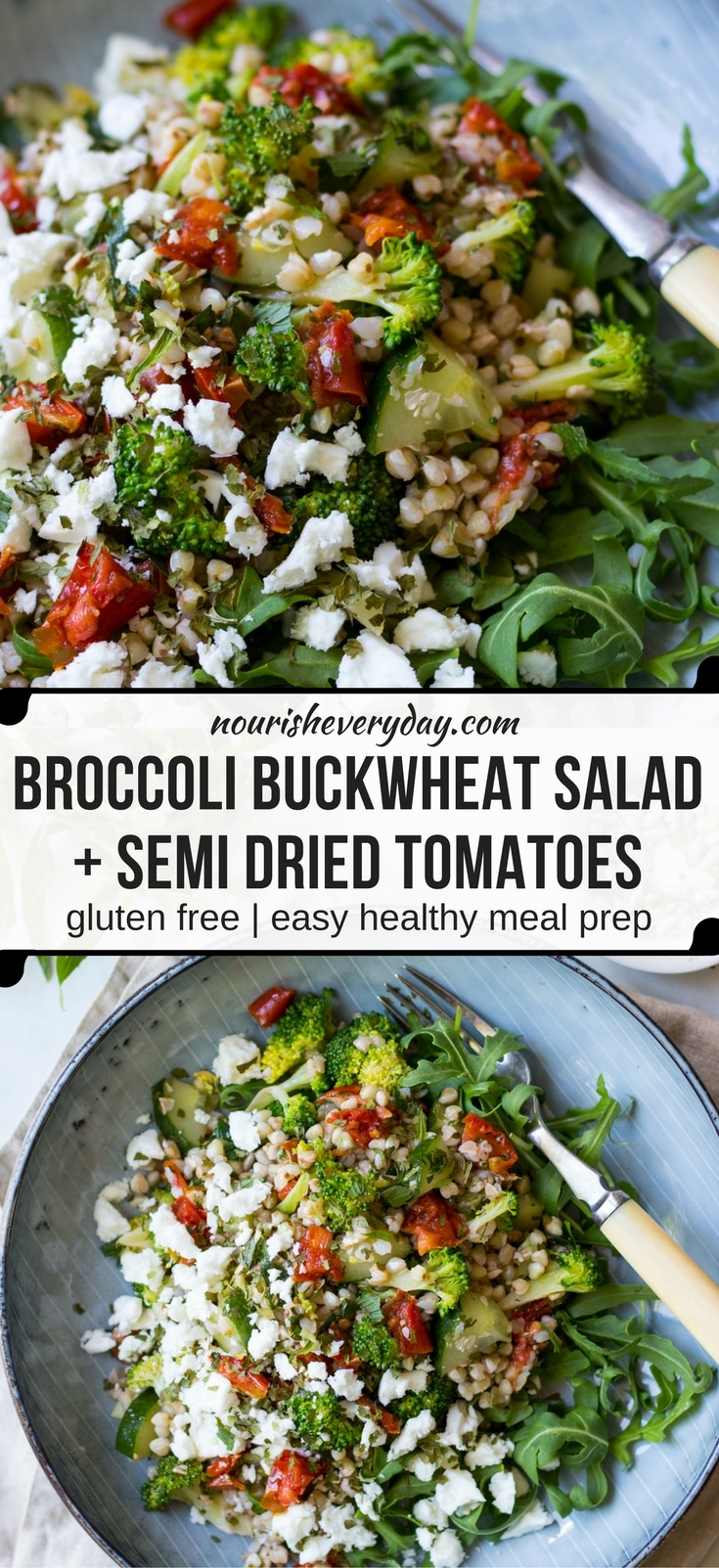 Broccoli Buckwheat Salad with loads of flavour from herbs, semi dried tomatoes and feta! Gluten free and super easy to make! #buckwheatsalad #glutenfree #healthy #buckwheatrecipes
