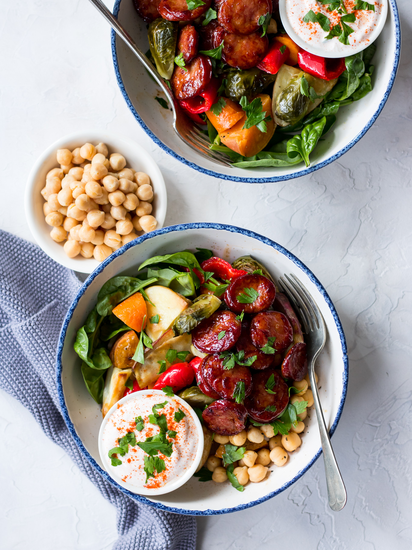 Maple Chorizo Veggie Bowls | sliced chorizo, vegetables and chickpeas with a maple glaze | Nourish Every Day