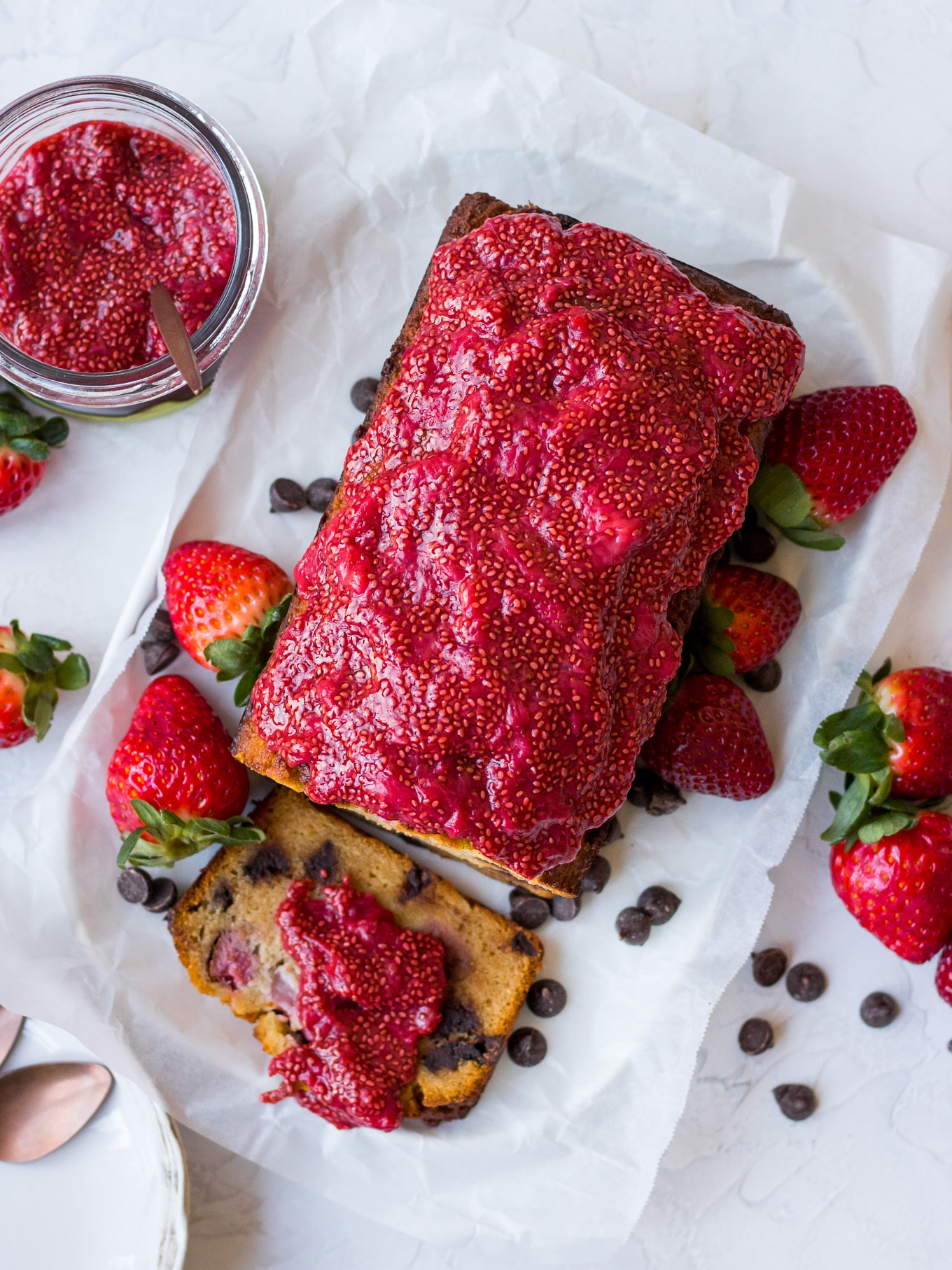 Gluten free Choc Chip Strawberry Cake Recipe on Nourish Every Day Blog