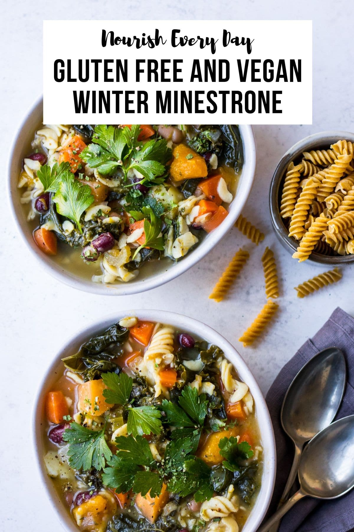 Winter Minestrone with Pulse Pasta on Nourish Every Day Blog