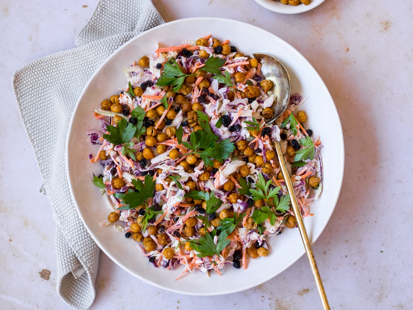 Healthy Yoghurt Slaw with Roasted Chickpeas, recipe by Nourish Every Day