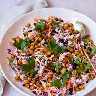 Yoghurt Coleslaw with Roasted Chickpeas a recipe by Nourish Every Day
