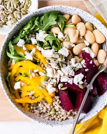 Buddha bowl with roasted beetroot and feta