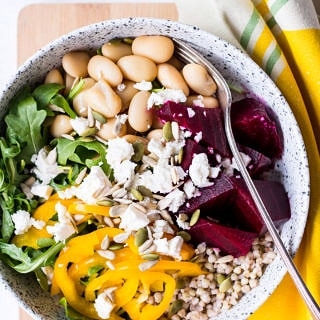 Roasted Beetroot Grain Bowl with buckwheat and butter beans