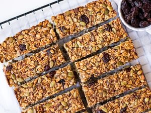 Vegan banana bread muesli bar recipe by Nourish Every Day